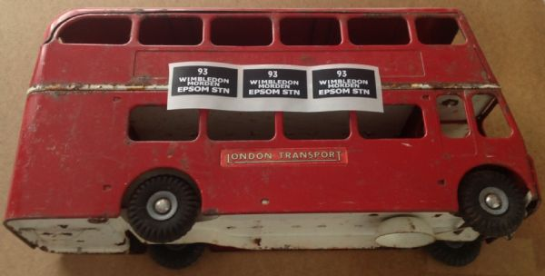 "Set of 3 "" EPSOM STN "" Tri-ang Large Steel Bus "" Peel and stick "" decals"